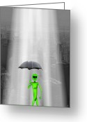 Umbrella Digital Art Greeting Cards - No Intelligent Life Here Greeting Card by Mike McGlothlen
