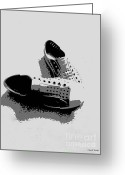 Sneakers Greeting Cards - No Laces Greeting Card by Cheryl Young