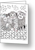 Paula Dickerhoff Greeting Cards - No Monkey Business Greeting Card by Paula Dickerhoff