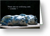 Ceramic Sculpture Greeting Cards - No Ordinary Cats Greeting Card by Dagmar Ceki