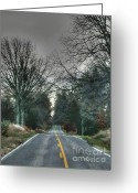 Rural Road Greeting Cards - No passing on the right Greeting Card by David Bearden