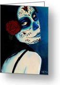 Woman Painting Greeting Cards - No Se Olvide de Mi Greeting Card by Al  Molina