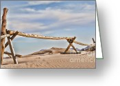 Sand Fences Photo Greeting Cards - No Trespassing Greeting Card by Heather Applegate