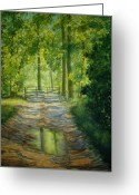 Puddle Painting Greeting Cards - No Trespassing Greeting Card by Shirley Braithwaite Hunt