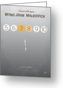 Cusack Greeting Cards - No009 My Being John Malkovich minimal movie poster Greeting Card by Chungkong Art