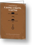 Outlaw Greeting Cards - No042 My Il buono il brutto il cattivo minimal movie poster Greeting Card by Chungkong Art