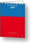 Movie Poster Greeting Cards - No046 My jaws minimal movie poster Greeting Card by Chungkong Art