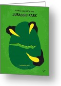 Movie Poster Greeting Cards - No047 My Jurasic Park minimal movie poster Greeting Card by Chungkong Art