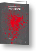 Movie Poster Greeting Cards - No067 My Pulp Fiction minimal movie poster Greeting Card by Chungkong Art