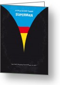 Film Print Greeting Cards - No086 My Superman minimal movie poster Greeting Card by Chungkong Art