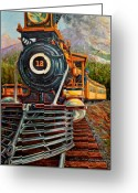 Trains Painting Greeting Cards - No.12 in the Mountains Greeting Card by Gary Symington