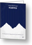 Design Greeting Cards - No158 My SCARFACE minimal movie poster Greeting Card by Chungkong Art