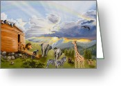 Two By Two Greeting Cards - Noahs Ark Greeting Card by Cheryl Allen