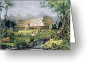 Two By Two Greeting Cards - Noahs Ark Greeting Card by Currier and Ives