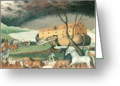 Noah Greeting Cards - Noahs Ark Greeting Card by Edward Hicks