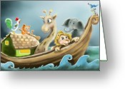 Ark Greeting Cards - Noahs Ark Greeting Card by Hank Nunes