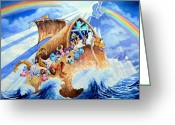 Noahs Ark Painting Greeting Cards - Noahs Ark Greeting Card by Hanne Lore Koehler