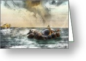 Safe Haven Greeting Cards - Noahs Ark Stragglers Greeting Card by Rhonda Strickland