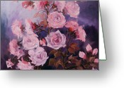 Roze Greeting Cards - Noaptea rozelor Greeting Card by Elena Bissinger