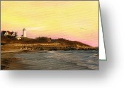 Martha Greeting Cards - Nobska Light Greeting Card by Michael Petrizzo
