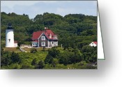 Cedar Fence Greeting Cards - Nobska Lighthouse Cape Cod Greeting Card by Michelle Wiarda