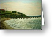 Woods Pastels Greeting Cards - Nobska Lighthouse Greeting Card by Joan Swanson
