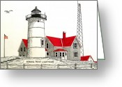 Historic Lighthouse Drawings Greeting Cards - Nobska Point Lighthouse Drawing Greeting Card by Frederic Kohli