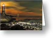 Light Houses Greeting Cards - Nocturnal Tranquility Greeting Card by Lourry Legarde