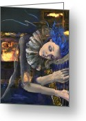 Gold Painting Greeting Cards - Nocturne Greeting Card by Dorina  Costras