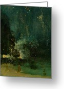 Independence Painting Greeting Cards - Nocturne in Black and Gold - the Falling Rocket Greeting Card by James Abbott McNeill Whistler