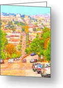 Cityscape Digital Art Greeting Cards - Noe Street San Francisco Greeting Card by Wingsdomain Art and Photography