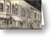 1950s Movies Drawings Greeting Cards - Noir Street Greeting Card by Mel Thompson