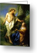 Jesus Painting Greeting Cards - Noli Me Tangere Greeting Card by Carle Vanloo