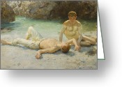 Sunbathing Greeting Cards - Noonday Heat Greeting Card by Henry Scott Tuke