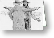Cowboy Sketches Greeting Cards - Nooooo This Way Greeting Card by Jack Schilder