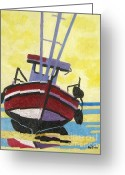 East Anglia Painting Greeting Cards - Norfolk Puddled Boat Greeting Card by Lesley Giles