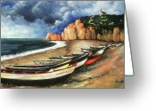 Masterpiece Drawings Greeting Cards - Normandy Coast - Landscape Oil Greeting Card by Peter Art Prints Posters Gallery