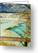 Yellowstone Landscape Art Greeting Cards - Norris Hot Spring Greeting Card by Greg Norrell