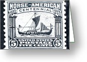 States Reliefs Greeting Cards - Norse-American Centennial Stamp Greeting Card by James Neill