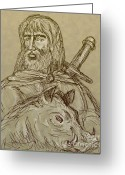 Boar Greeting Cards - Norse god of agriculture Greeting Card by Aloysius Patrimonio
