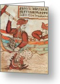 Norse Greeting Cards - Norse Mythology Thors Fishing Trip Greeting Card by Photo Researchers