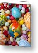 Maps Greeting Cards - North America Easter Egg Greeting Card by Garry Gay