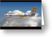 Jet Digital Art Greeting Cards - North American F-86 Sabre Greeting Card by Larry McManus