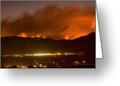 Striking Photography Greeting Cards - North Boulder Colorado Fire Above in the Hills Greeting Card by James Bo Insogna