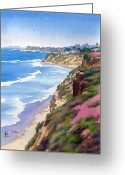 Beach Scenes Greeting Cards - North County Coastline Revisited Greeting Card by Mary Helmreich