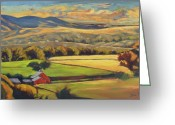 Landscape Painter Greeting Cards - North Fork Panorama Greeting Card by Gina Grundemann