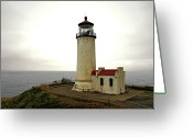 Lighthouse Tower Greeting Cards - North Head Lighthouse - Graveyard of the Pacific - Ilwaco WA Greeting Card by Christine Till