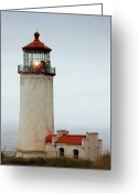 Day Greeting Cards - North Head Lighthouse - Ilwaco on Washingtons Southwest Coast Greeting Card by Christine Till