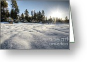 Sun Flare Greeting Cards - North Lake Tahoe Beach Snow Greeting Card by Dustin K Ryan