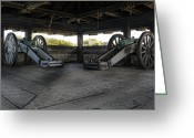 Shed Photo Greeting Cards - North Redoubt Cannons Greeting Card by Peter Chilelli